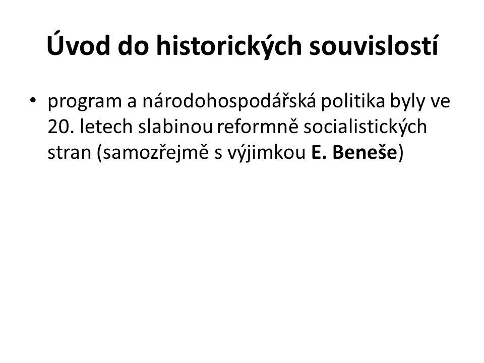 Úvod do historických souvislostí program a národohospodářská politika byly ve 20. letech slabinou reformně socialistických stran (samozřejmě s výjimko