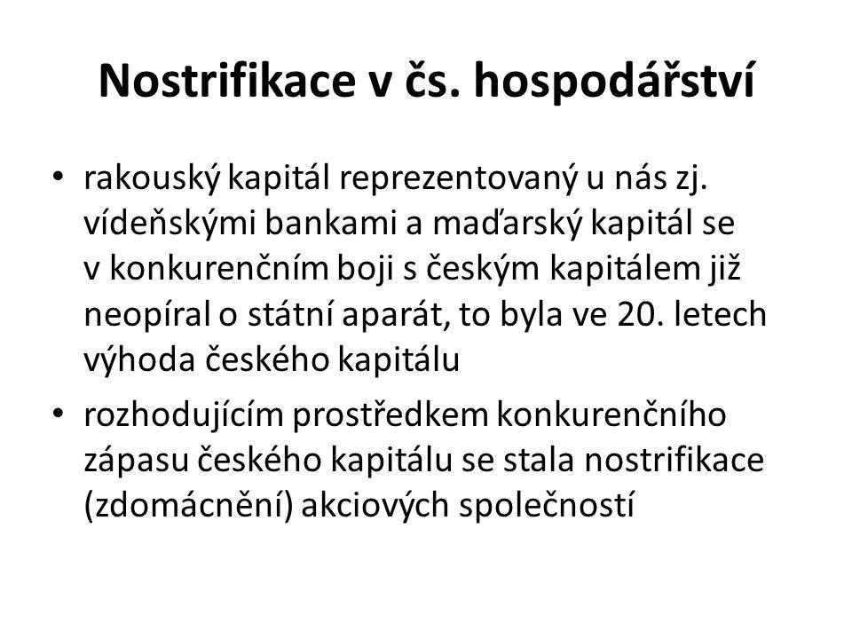 Nostrifikace v čs. hospodářství rakouský kapitál reprezentovaný u nás zj. vídeňskými bankami a maďarský kapitál se v konkurenčním boji s českým kapitá