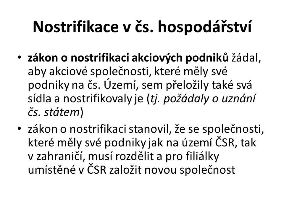 Nostrifikace v čs. hospodářství zákon o nostrifikaci akciových podniků žádal, aby akciové společnosti, které měly své podniky na čs. Území, sem přelož