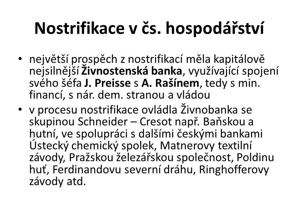 Nostrifikace v čs. hospodářství největší prospěch z nostrifikací měla kapitálově nejsilnější Živnostenská banka, využívající spojení svého šéfa J. Pre