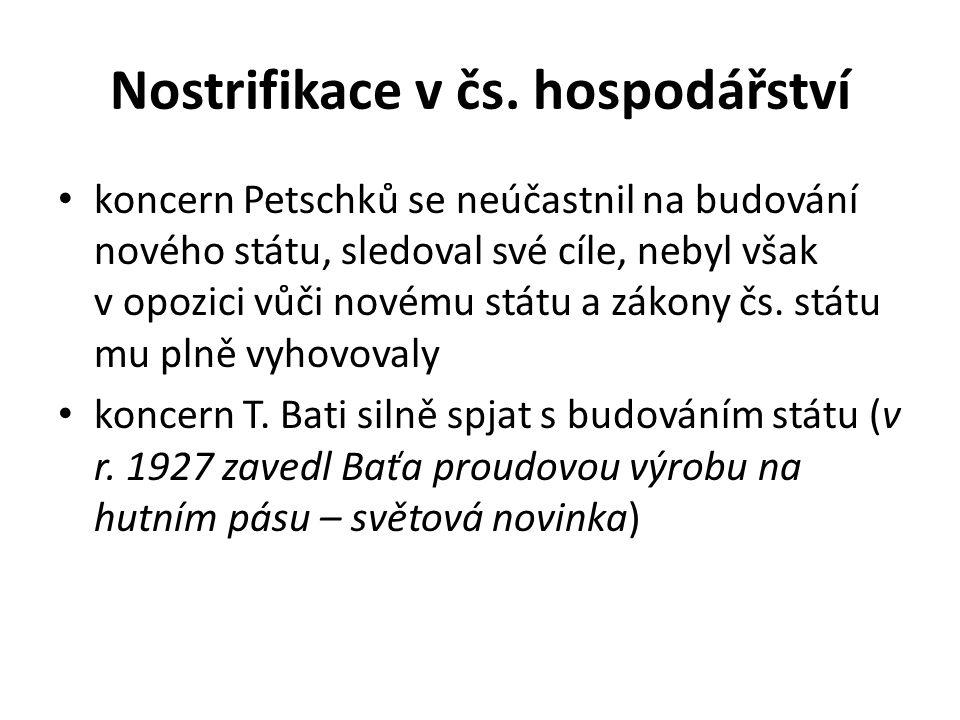 Nostrifikace v čs. hospodářství koncern Petschků se neúčastnil na budování nového státu, sledoval své cíle, nebyl však v opozici vůči novému státu a z