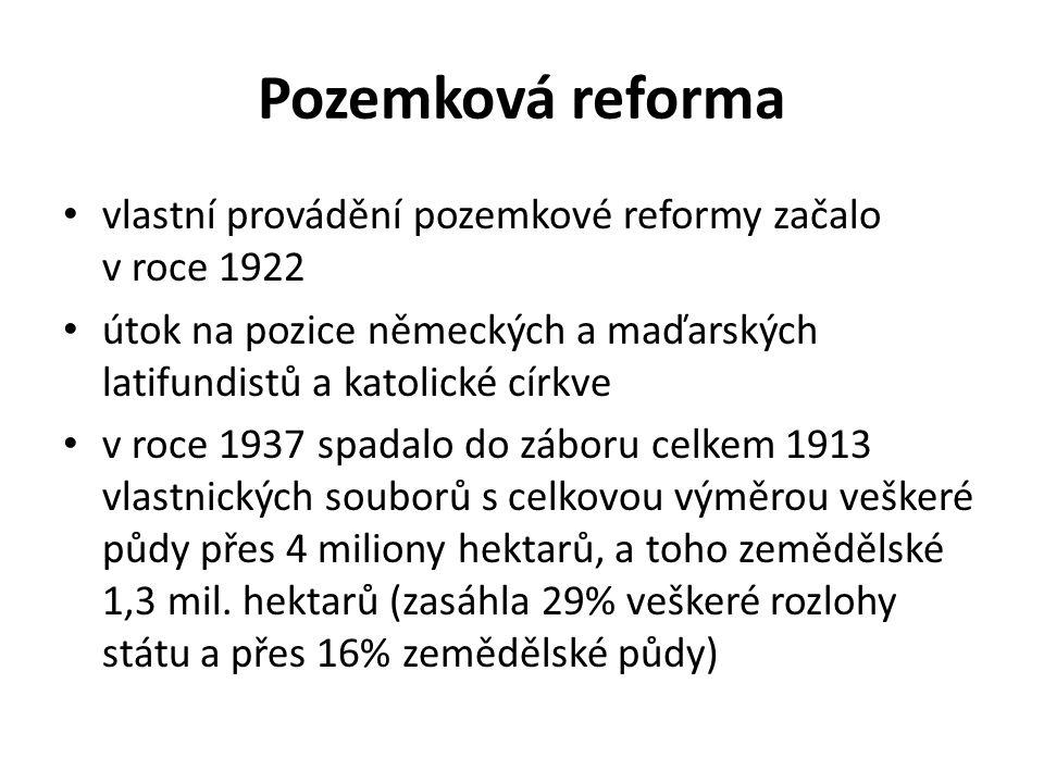 Pozemková reforma vlastní provádění pozemkové reformy začalo v roce 1922 útok na pozice německých a maďarských latifundistů a katolické církve v roce