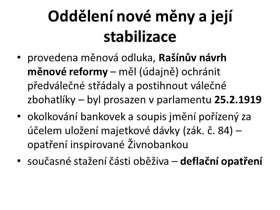 Oddělení nové měny a její stabilizace provedena měnová odluka, Rašínův návrh měnové reformy – měl (údajně) ochránit předválečné střádaly a postihnout