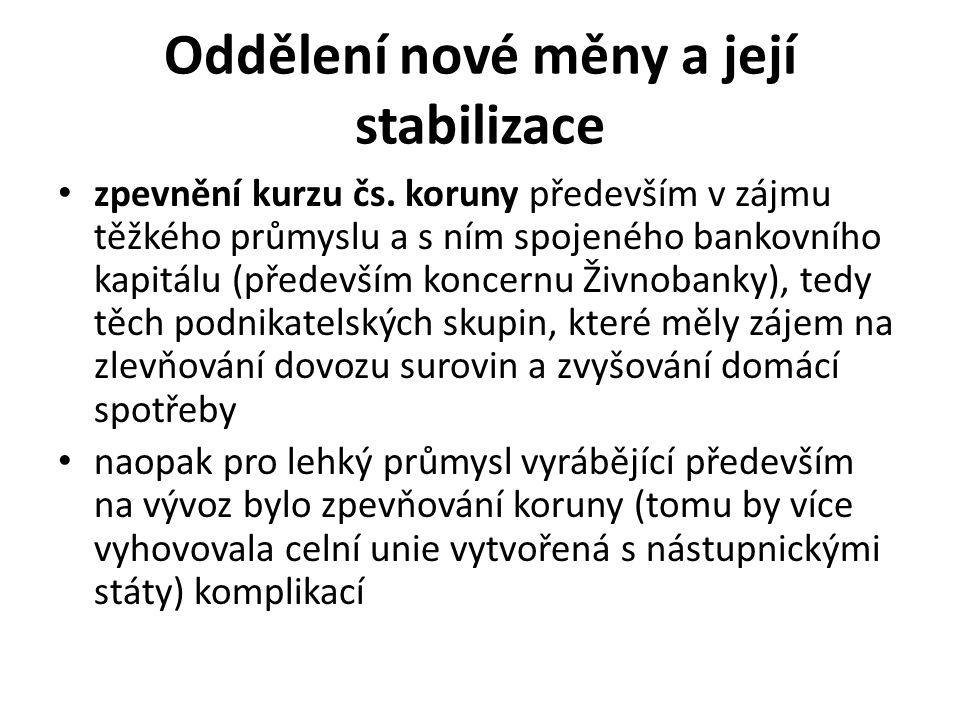 Oddělení nové měny a její stabilizace zpevnění kurzu čs. koruny především v zájmu těžkého průmyslu a s ním spojeného bankovního kapitálu (především ko