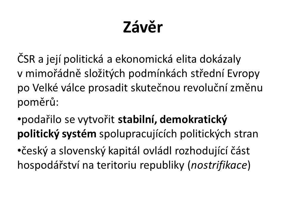 Závěr ČSR a její politická a ekonomická elita dokázaly v mimořádně složitých podmínkách střední Evropy po Velké válce prosadit skutečnou revoluční změ