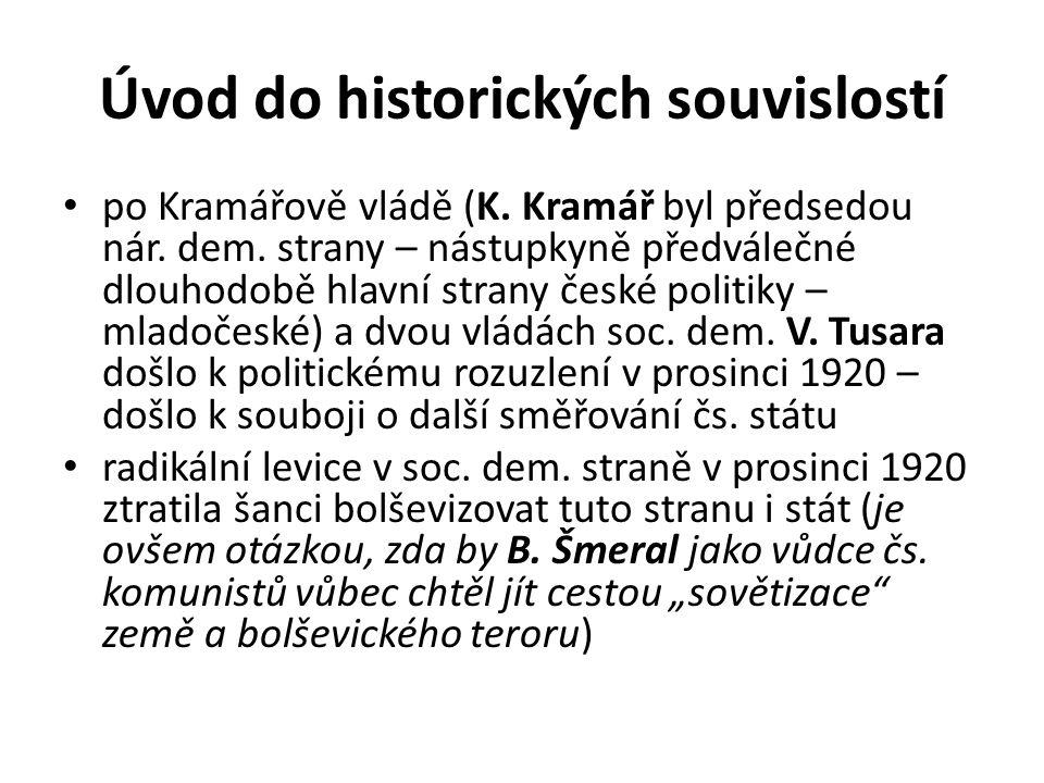 Úvod do historických souvislostí po Kramářově vládě (K. Kramář byl předsedou nár. dem. strany – nástupkyně předválečné dlouhodobě hlavní strany české