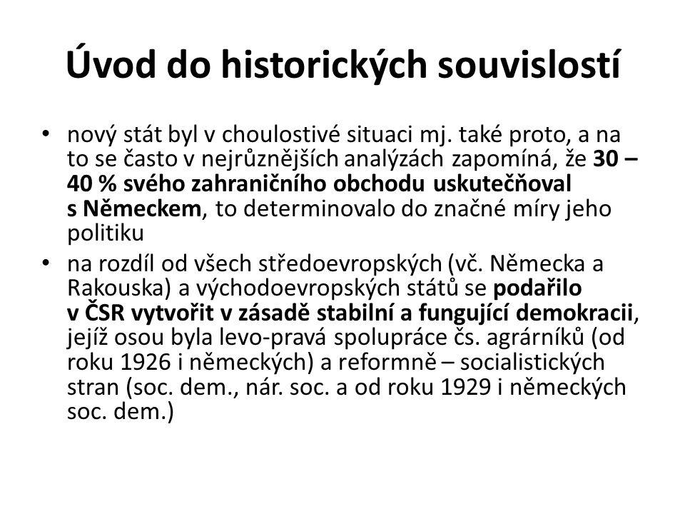 Úvod do historických souvislostí nový stát byl v choulostivé situaci mj. také proto, a na to se často v nejrůznějších analýzách zapomíná, že 30 – 40 %