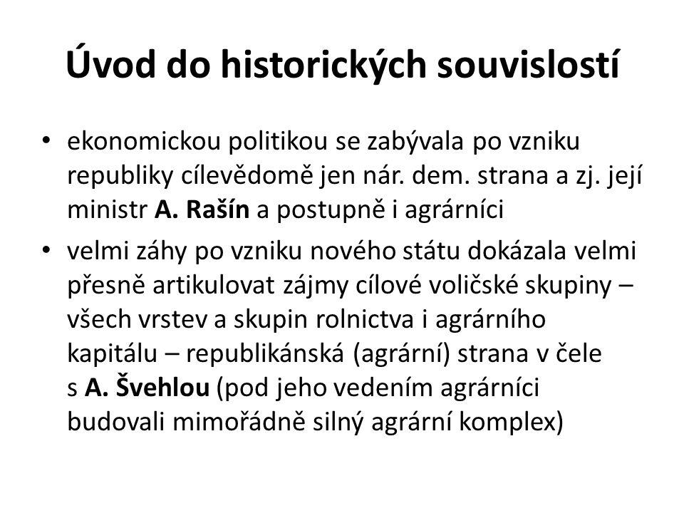 Úvod do historických souvislostí ekonomickou politikou se zabývala po vzniku republiky cílevědomě jen nár. dem. strana a zj. její ministr A. Rašín a p