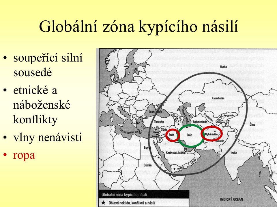 Globální zóna kypícího násilí soupeřící silní sousedé etnické a náboženské konflikty vlny nenávisti ropa