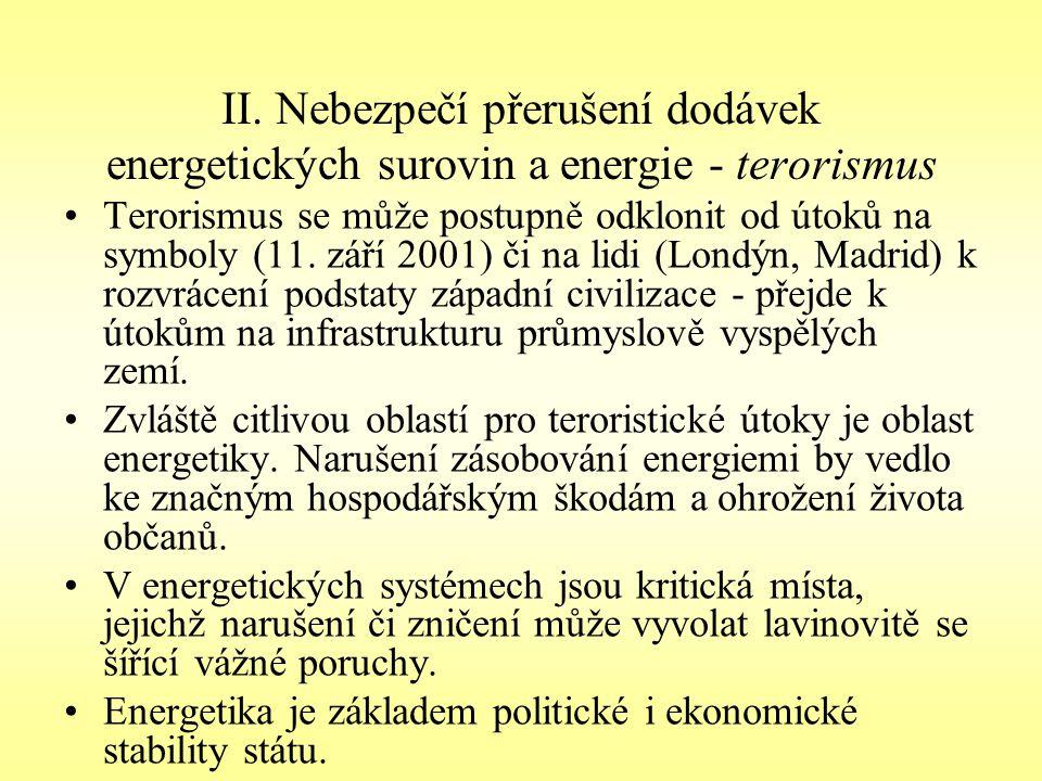 II. Nebezpečí přerušení dodávek energetických surovin a energie - terorismus Terorismus se může postupně odklonit od útoků na symboly (11. září 2001)