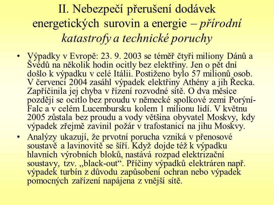 II. Nebezpečí přerušení dodávek energetických surovin a energie – přírodní katastrofy a technické poruchy Výpadky v Evropě: 23. 9. 2003 se téměř čtyři