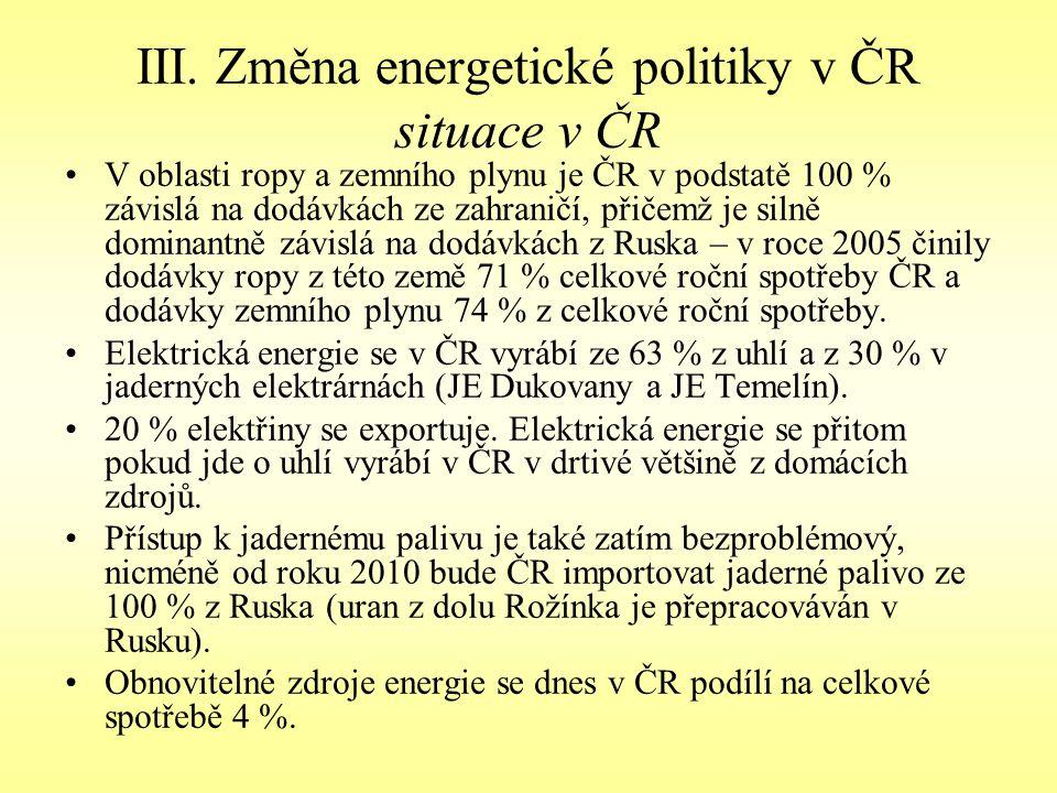 III. Změna energetické politiky v ČR situace v ČR V oblasti ropy a zemního plynu je ČR v podstatě 100 % závislá na dodávkách ze zahraničí, přičemž je