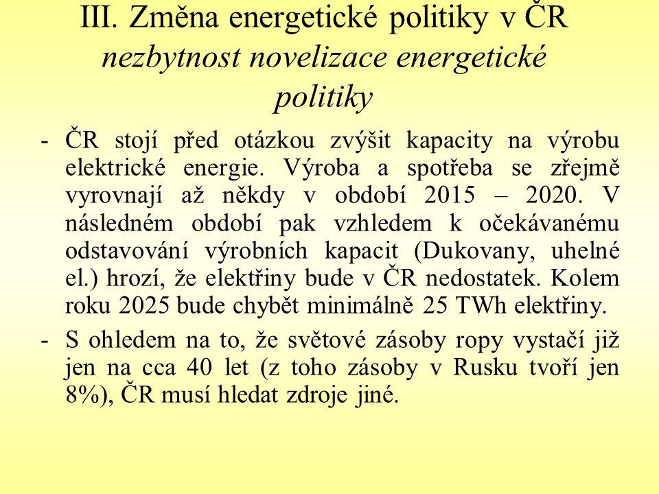 III. Změna energetické politiky v ČR nezbytnost novelizace energetické politiky -ČR stojí před otázkou zvýšit kapacity na výrobu elektrické energie. V