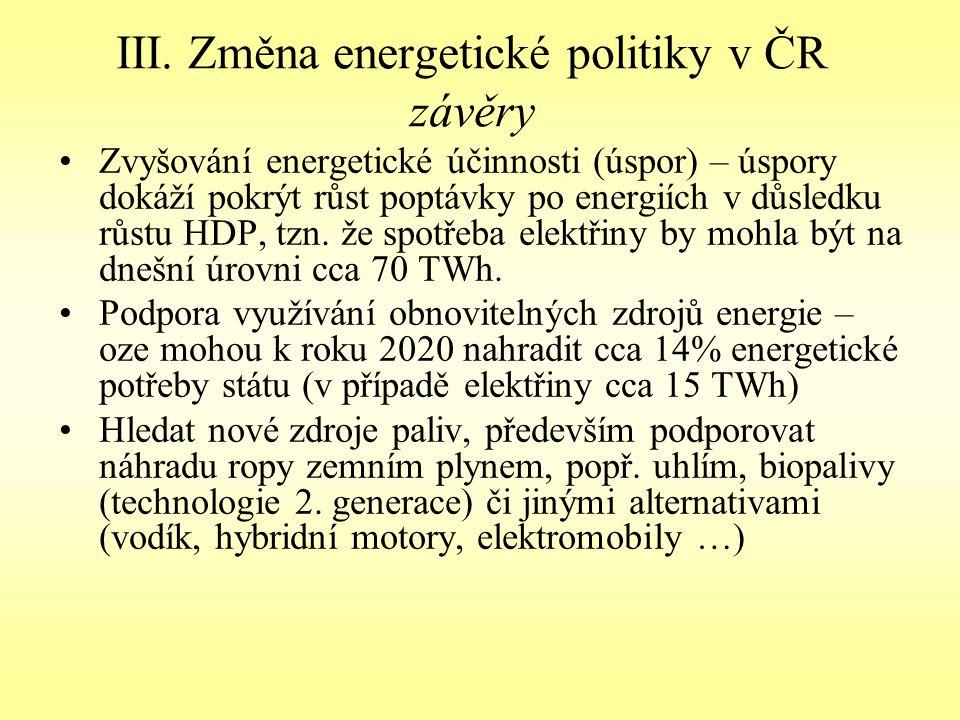 III. Změna energetické politiky v ČR závěry Zvyšování energetické účinnosti (úspor) – úspory dokáží pokrýt růst poptávky po energiích v důsledku růstu