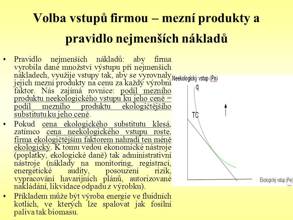 Volba vstupů firmou – mezní produkty a pravidlo nejmenších nákladů Pravidlo nejmenších nákladů: aby firma vyrobila dané množství výstupu při nejmenšíc
