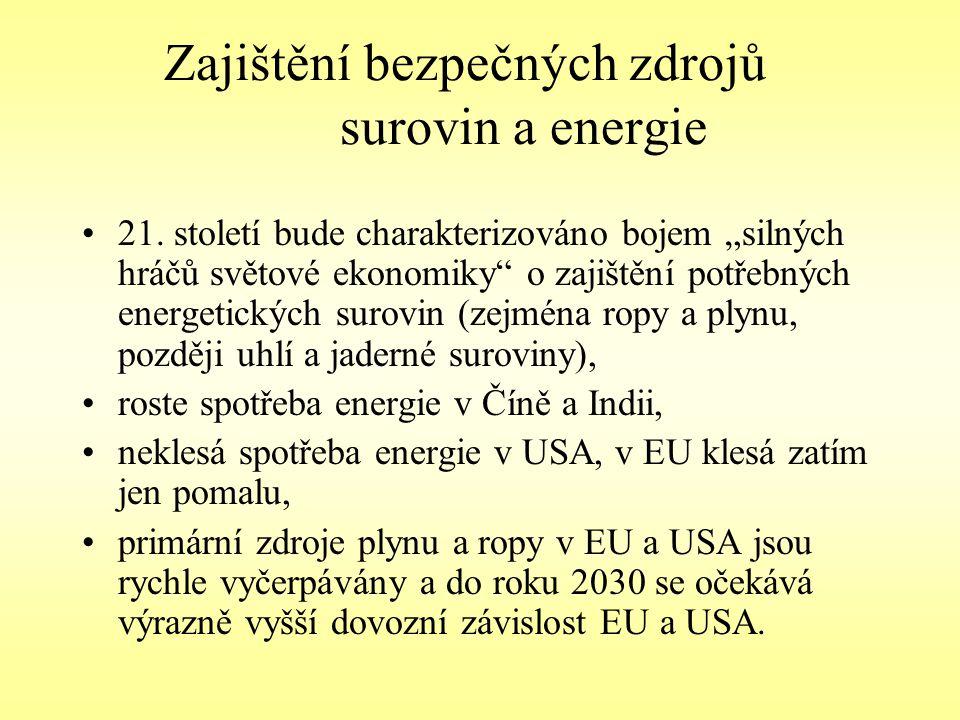 """Zajištění bezpečných zdrojů surovin a energie 21. století bude charakterizováno bojem """"silných hráčů světové ekonomiky"""" o zajištění potřebných energet"""