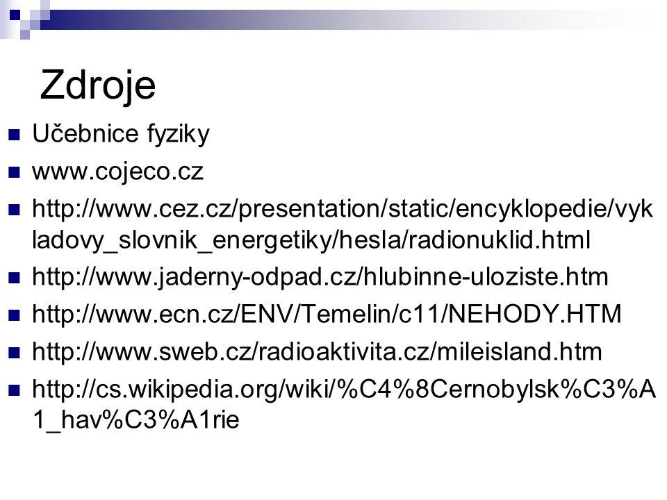 Zdroje Učebnice fyziky www.cojeco.cz http://www.cez.cz/presentation/static/encyklopedie/vyk ladovy_slovnik_energetiky/hesla/radionuklid.html http://ww