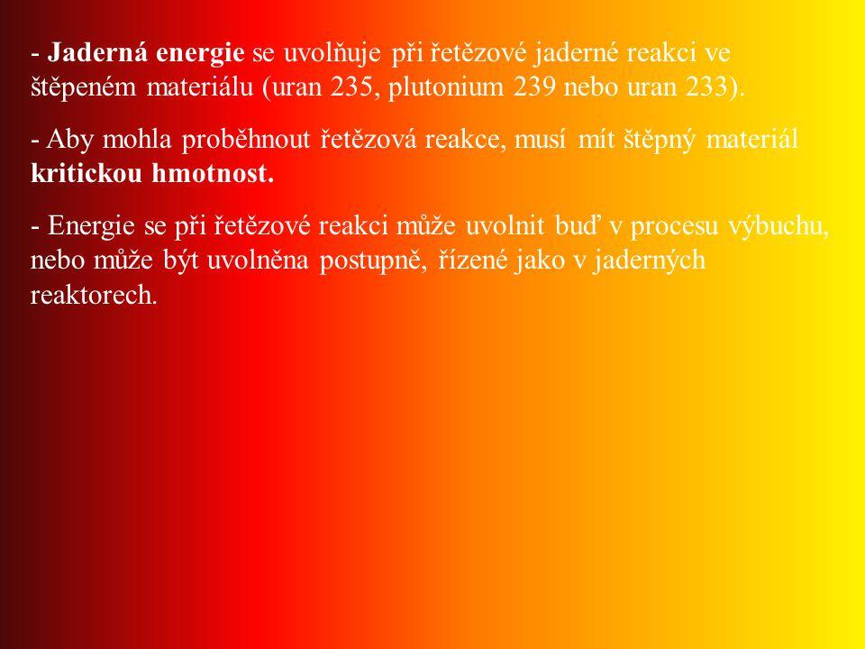 - Jaderná energie se uvolňuje při řetězové jaderné reakci ve štěpeném materiálu (uran 235, plutonium 239 nebo uran 233).