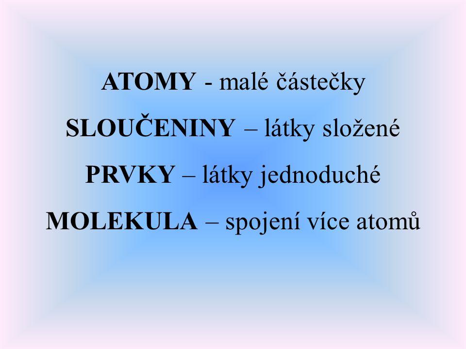 ATOMY - malé částečky SLOUČENINY – látky složené PRVKY – látky jednoduché MOLEKULA – spojení více atomů