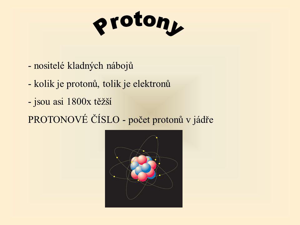 - nositelé kladných nábojů - kolik je protonů, tolik je elektronů - jsou asi 1800x těžší PROTONOVÉ ČÍSLO - počet protonů v jádře
