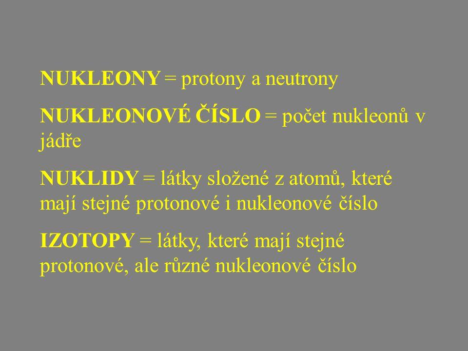NUKLEONY = protony a neutrony NUKLEONOVÉ ČÍSLO = počet nukleonů v jádře NUKLIDY = látky složené z atomů, které mají stejné protonové i nukleonové číslo IZOTOPY = látky, které mají stejné protonové, ale různé nukleonové číslo