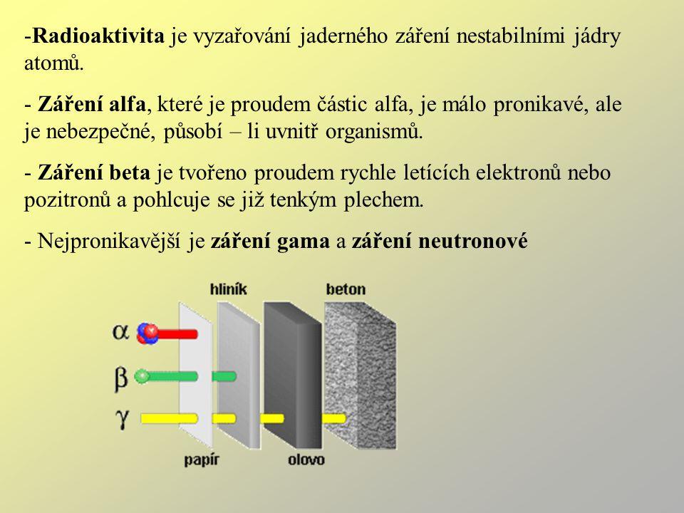 -Radioaktivita je vyzařování jaderného záření nestabilními jádry atomů.