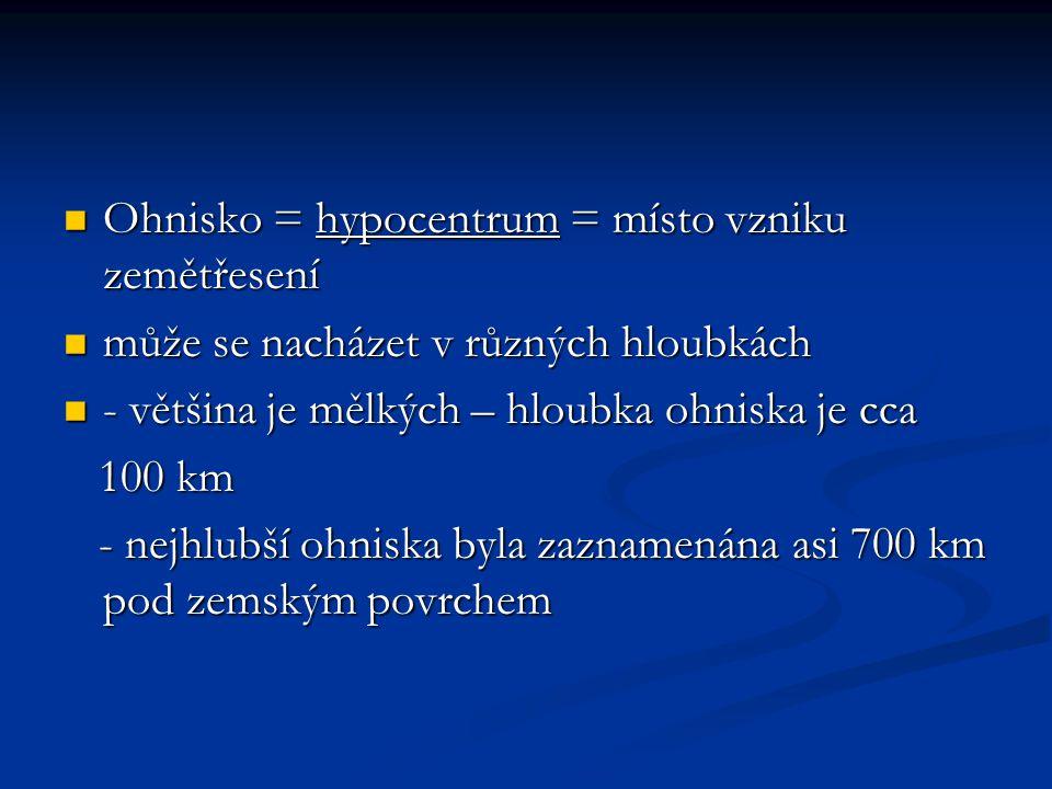 Epicentrum = místo na zemském povrchu nad ohniskem Epicentrum = místo na zemském povrchu nad ohniskem zemětřesením je postiženo nejvíce zemětřesením je postiženo nejvíce pro přesné určení epicentra se využívá v seismologii určování pomocí seizmografu.
