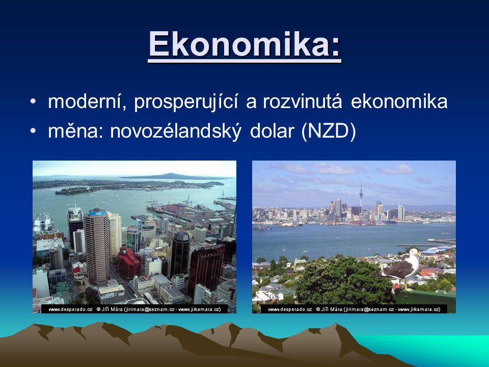 Ekonomika: moderní, prosperující a rozvinutá ekonomika měna: novozélandský dolar (NZD)
