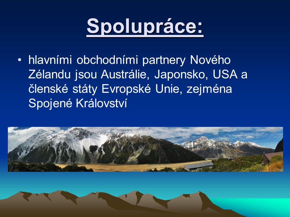 Spolupráce: hlavními obchodními partnery Nového Zélandu jsou Austrálie, Japonsko, USA a členské státy Evropské Unie, zejména Spojené Království