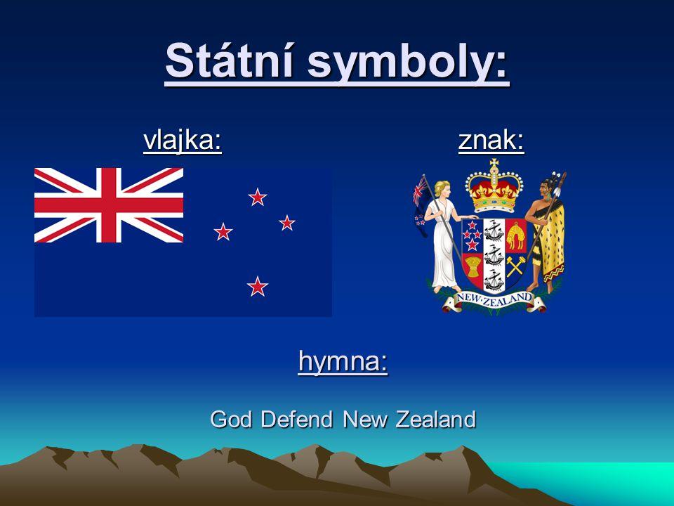 Státní symboly: vlajka:znak: hymna: God Defend New Zealand
