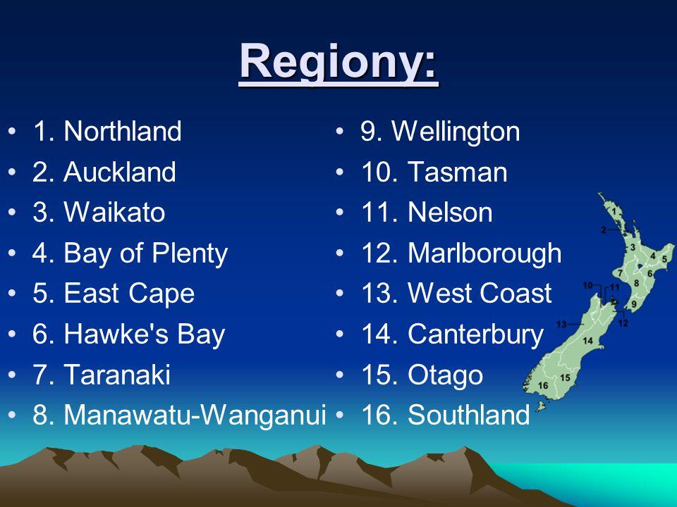 Regiony: 1. Northland 2. Auckland 3. Waikato 4. Bay of Plenty 5. East Cape 6. Hawke's Bay 7. Taranaki 8. Manawatu-Wanganui 9. Wellington 10. Tasman 11