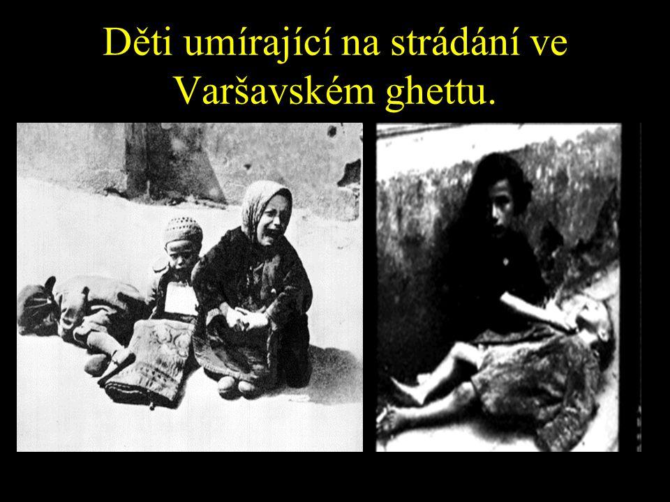 Jakou taktiku zvolili nacisté, aby dostali Židy do ghett? Taktika Strádání Židé ve Varšavském ghettu dostávali jen 1000 kalorií na den Člověk potřebuj