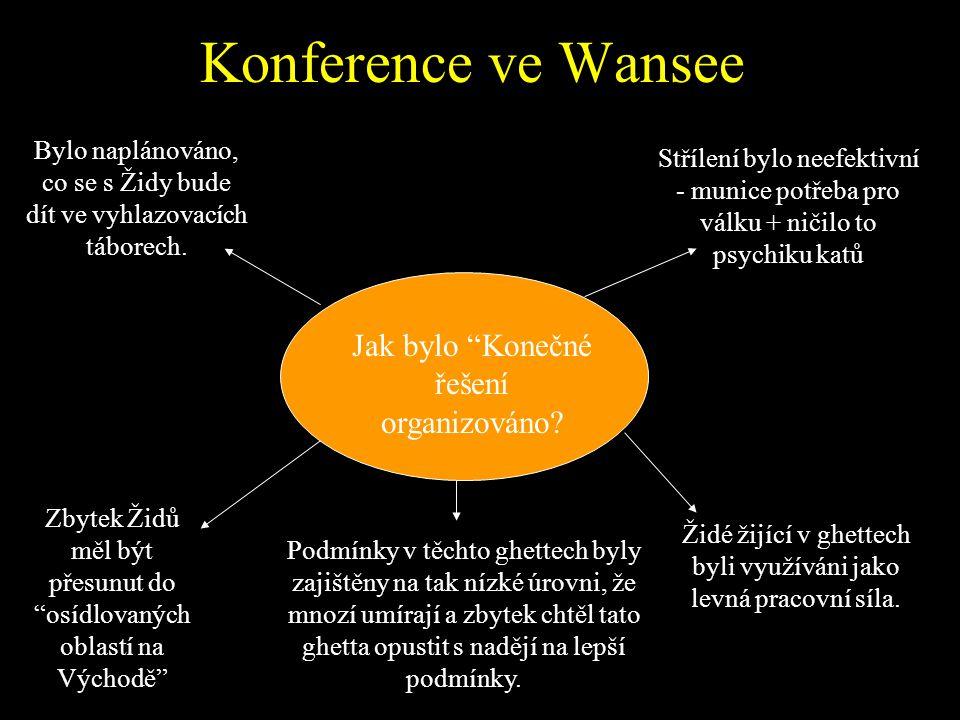 """""""Konečné řešení"""" V lednu 1942 Himmler rozhodl změnit znovu taktiku a svolal zvláštní konferenci do Wansee. Na této konferenci bylo rozhodnuto, že souč"""