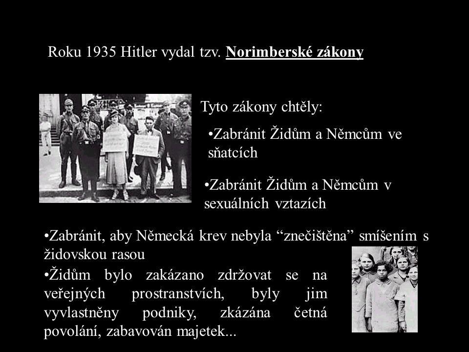 """Předehra ke konečnému řešení Jakmile se Hitler v roce 1933 dostal k moci, použil své nové moci plynoucí ze """"Zmocňovacího zákona"""" k prvním útokům proti"""
