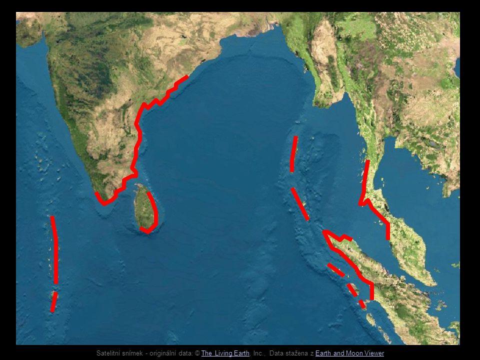Satelitní snímek - originální data: © The Living Earth, Inc., Data stažena z Earth and Moon ViewerThe Living EarthEarth and Moon Viewer