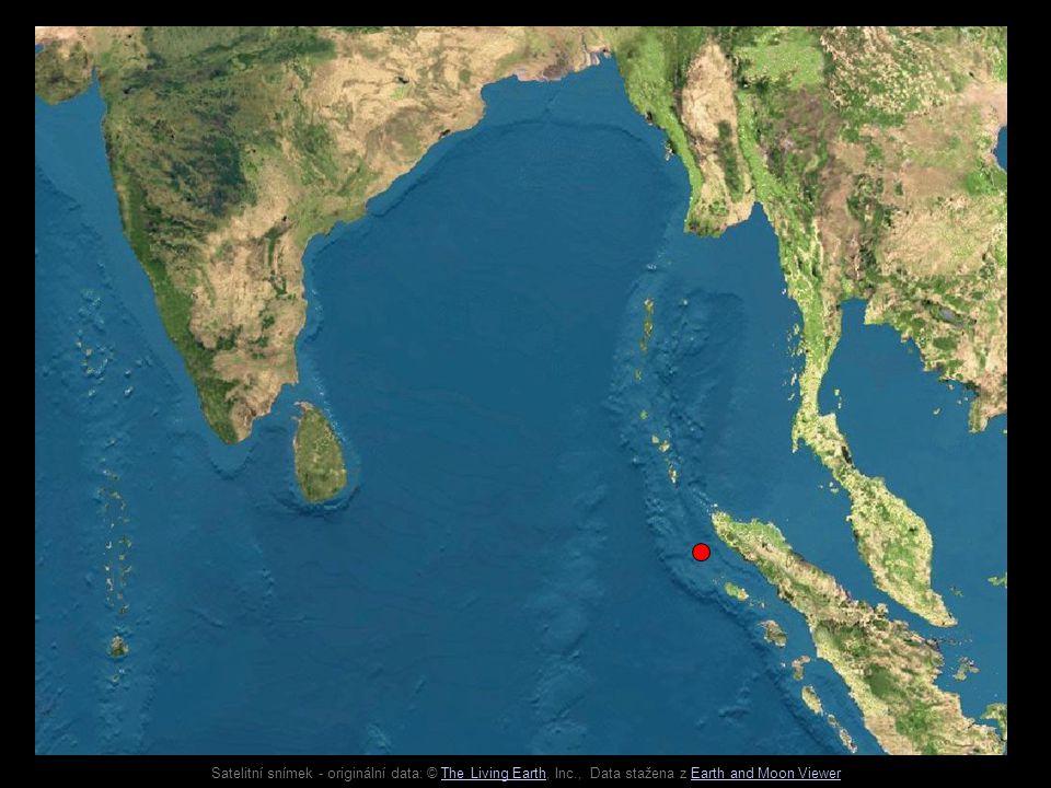 Satelitní snímek - originální data: © The Living Earth, Inc., Data stažena z Earth and Moon ViewerThe Living EarthEarth and Moon Viewer Indo-australská deska Euro-asijská deska Hlubokomořský příkop