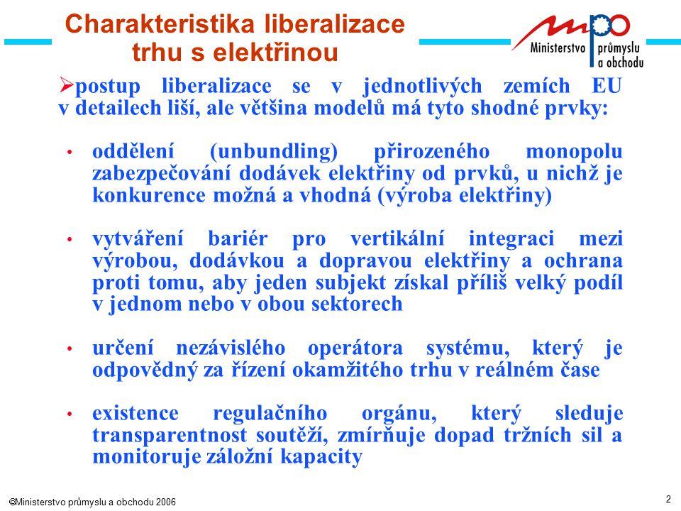 2  Ministerstvo průmyslu a obchodu 2006 Charakteristika liberalizace trhu s elektřinou  postup liberalizace se v jednotlivých zemích EU v detailech liší, ale většina modelů má tyto shodné prvky: oddělení (unbundling) přirozeného monopolu zabezpečování dodávek elektřiny od prvků, u nichž je konkurence možná a vhodná (výroba elektřiny) vytváření bariér pro vertikální integraci mezi výrobou, dodávkou a dopravou elektřiny a ochrana proti tomu, aby jeden subjekt získal příliš velký podíl v jednom nebo v obou sektorech určení nezávislého operátora systému, který je odpovědný za řízení okamžitého trhu v reálném čase existence regulačního orgánu, který sleduje transparentnost soutěží, zmírňuje dopad tržních sil a monitoruje záložní kapacity