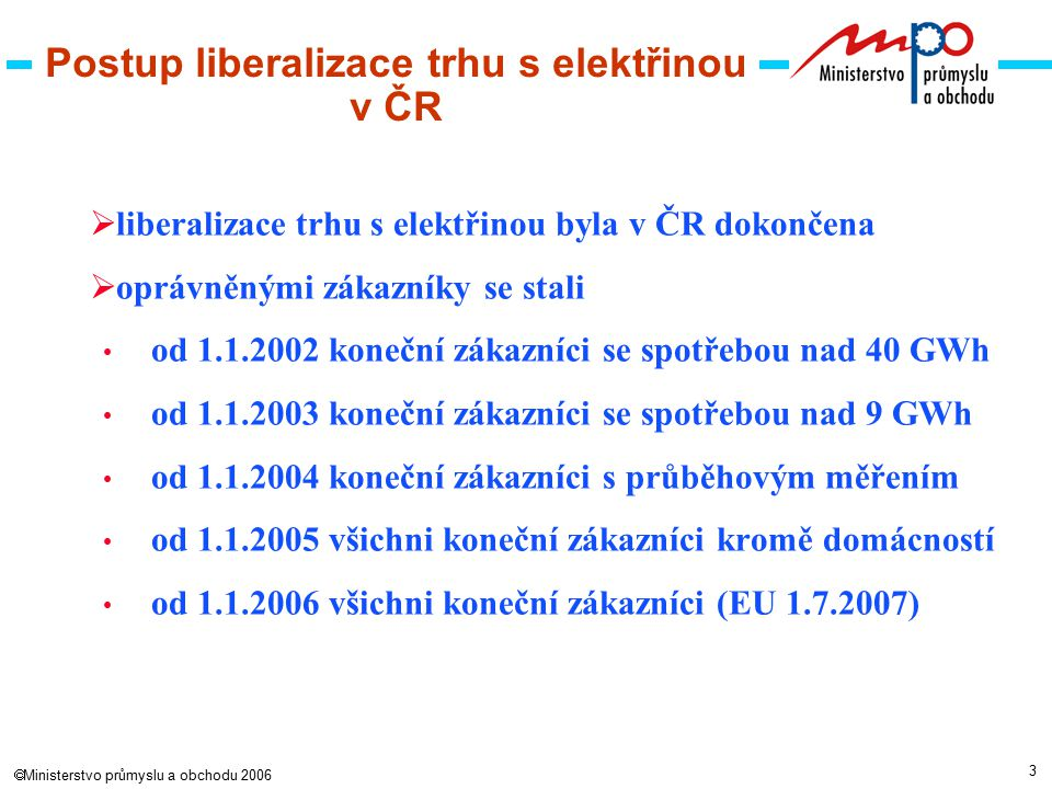 3  Ministerstvo průmyslu a obchodu 2006 Postup liberalizace trhu s elektřinou v ČR  liberalizace trhu s elektřinou byla v ČR dokončena  oprávněnými zákazníky se stali od 1.1.2002 koneční zákazníci se spotřebou nad 40 GWh od 1.1.2003 koneční zákazníci se spotřebou nad 9 GWh od 1.1.2004 koneční zákazníci s průběhovým měřením od 1.1.2005 všichni koneční zákazníci kromě domácností od 1.1.2006 všichni koneční zákazníci (EU 1.7.2007)