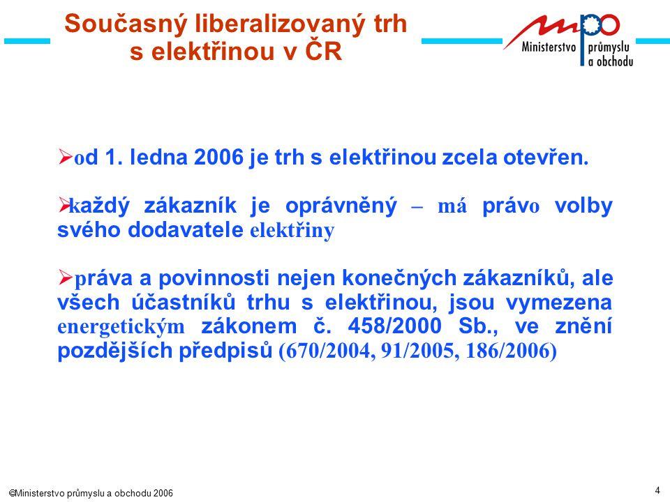 4  Ministerstvo průmyslu a obchodu 2006 Současný liberalizovaný trh s elektřinou v ČR  o d 1.