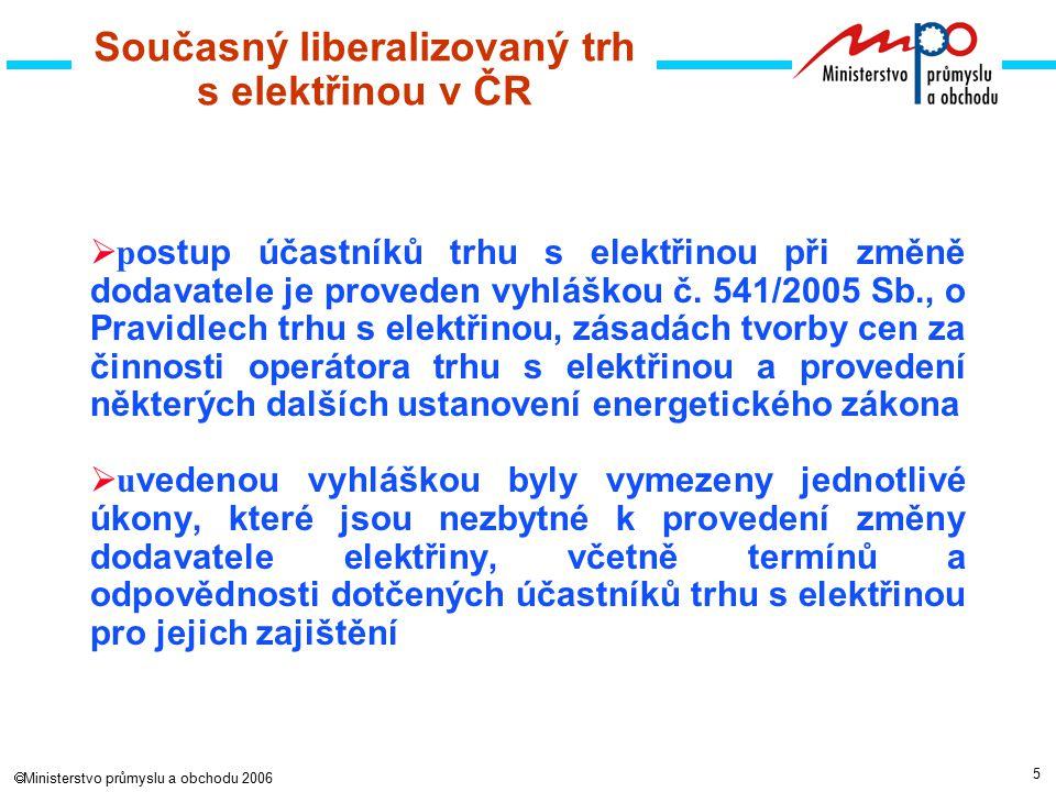 5  Ministerstvo průmyslu a obchodu 2006  p ostup účastníků trhu s elektřinou při změně dodavatele je proveden vyhláškou č.
