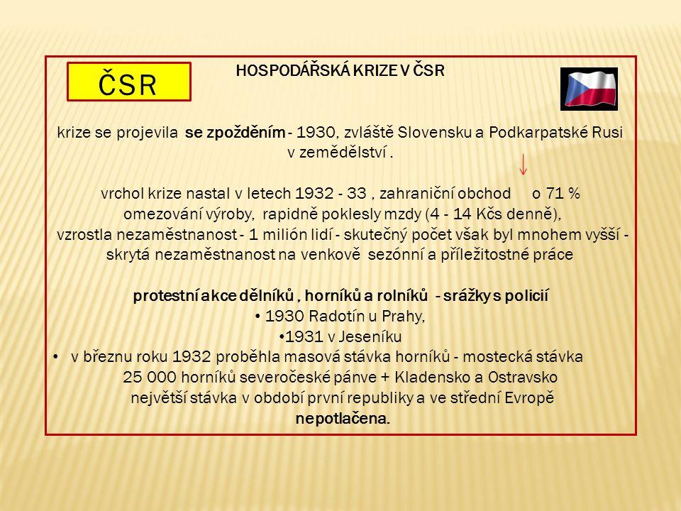 HOSPODÁŘSKÁ KRIZE V ČSR krize se projevila se zpožděním - 1930, zvláště Slovensku a Podkarpatské Rusi v zemědělství. vrchol krize nastal v letech 1932