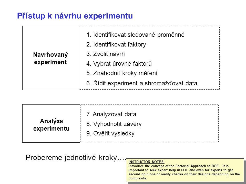 17 Navrhovaný experiment Analýza experimentu 1. Identifikovat sledované proměnné 2. Identifikovat faktory 3. Zvolit návrh 4. Vybrat úrovně faktorů 5.