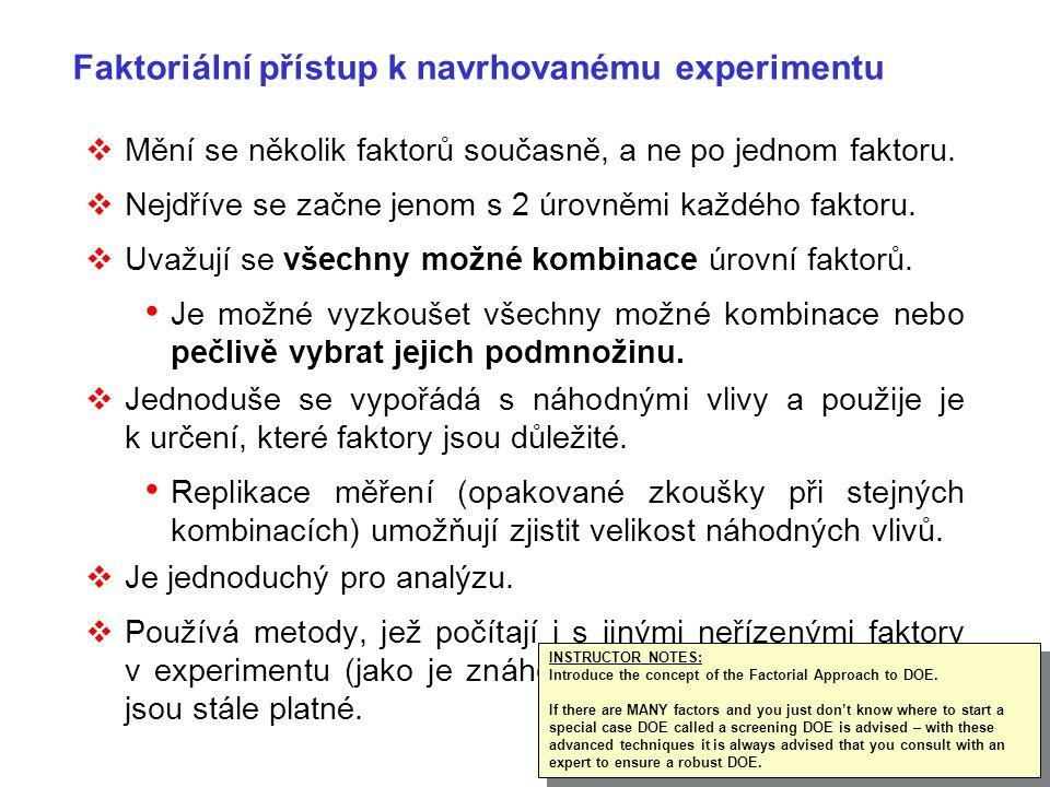 18 Faktoriální přístup k navrhovanému experimentu  Mění se několik faktorů současně, a ne po jednom faktoru.  Nejdříve se začne jenom s 2 úrovněmi k