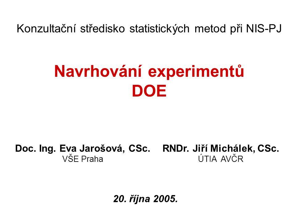 2 Konzultační středisko statistických metod při NIS-PJ Navrhování experimentů DOE Doc. Ing. Eva Jarošová, CSc. VŠE Praha RNDr. Jiří Michálek, CSc. ÚTI