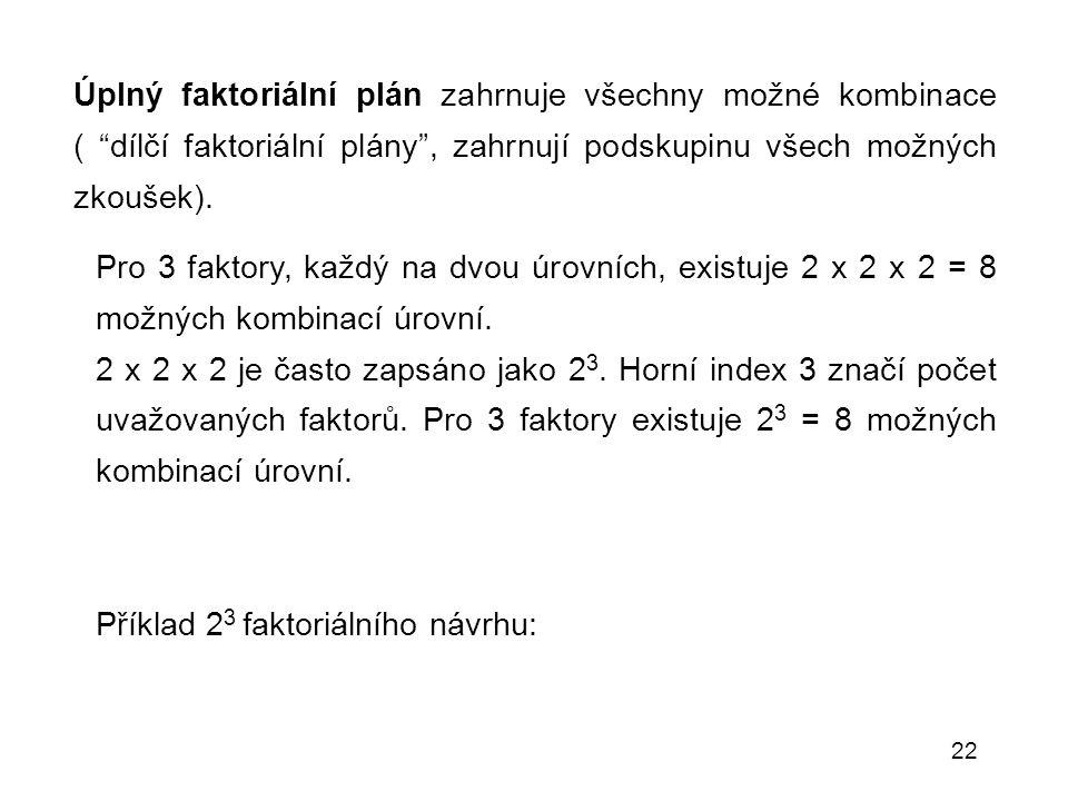 """22 Úplný faktoriální plán zahrnuje všechny možné kombinace ( """"dílčí faktoriální plány"""", zahrnují podskupinu všech možných zkoušek). Pro 3 faktory, kaž"""
