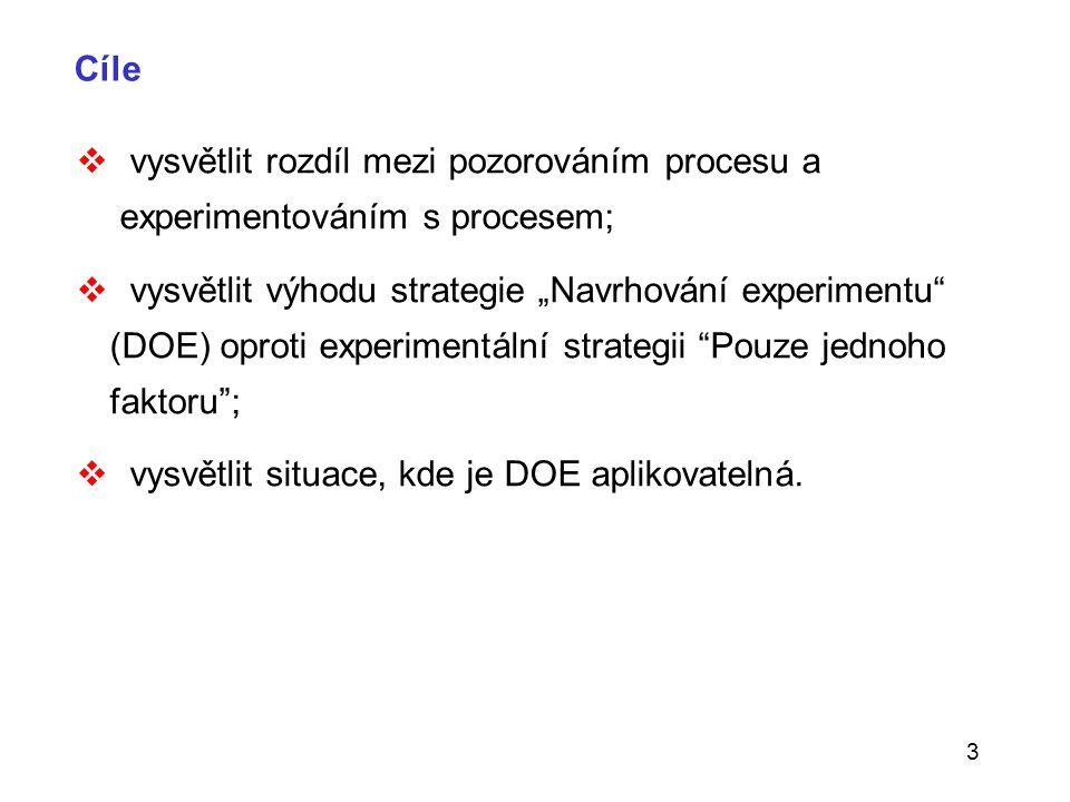 """3 Cíle  vysvětlit rozdíl mezi pozorováním procesu a experimentováním s procesem;  vysvětlit výhodu strategie """"Navrhování experimentu"""" (DOE) oproti e"""