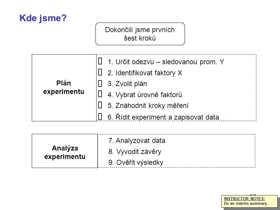 35 INSTRUCTOR NOTES: Do an interim summary. INSTRUCTOR NOTES: Do an interim summary. Kde jsme? Plán experimentu Analýza experimentu 1. Určit odezvu –