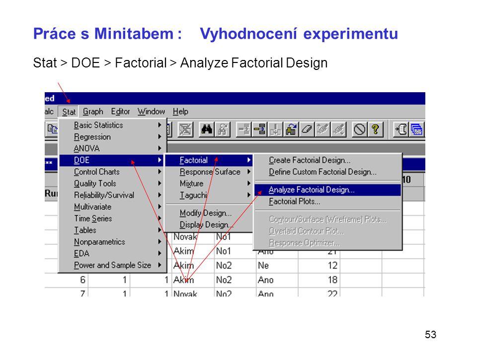 53 Stat > DOE > Factorial > Analyze Factorial Design Práce s Minitabem : Vyhodnocení experimentu