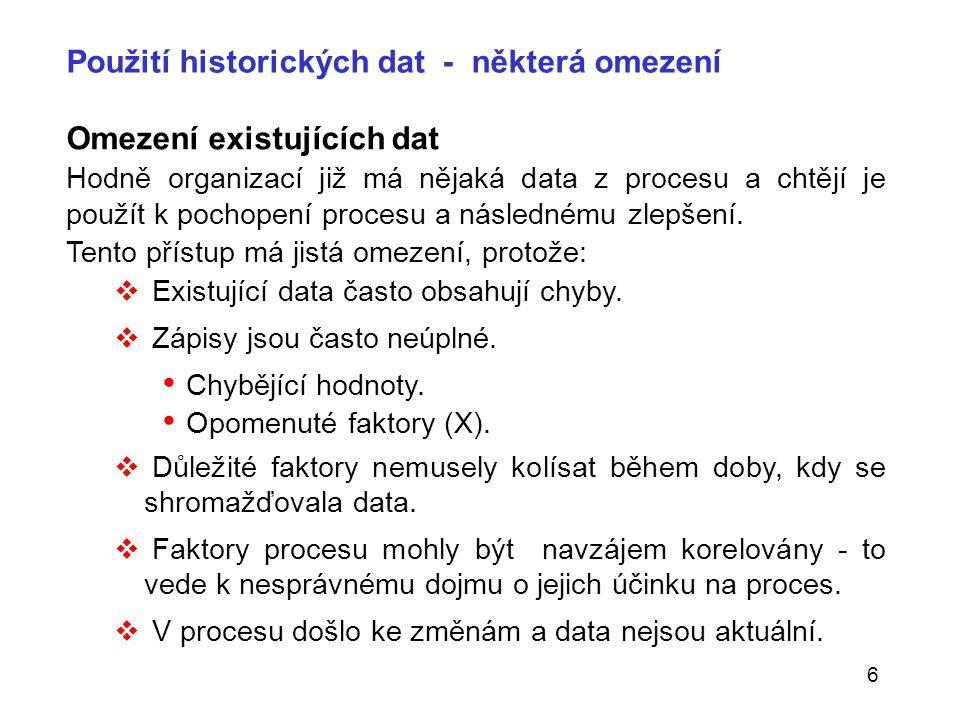 6 Použití historických dat - některá omezení Omezení existujících dat Hodně organizací již má nějaká data z procesu a chtějí je použít k pochopení pro