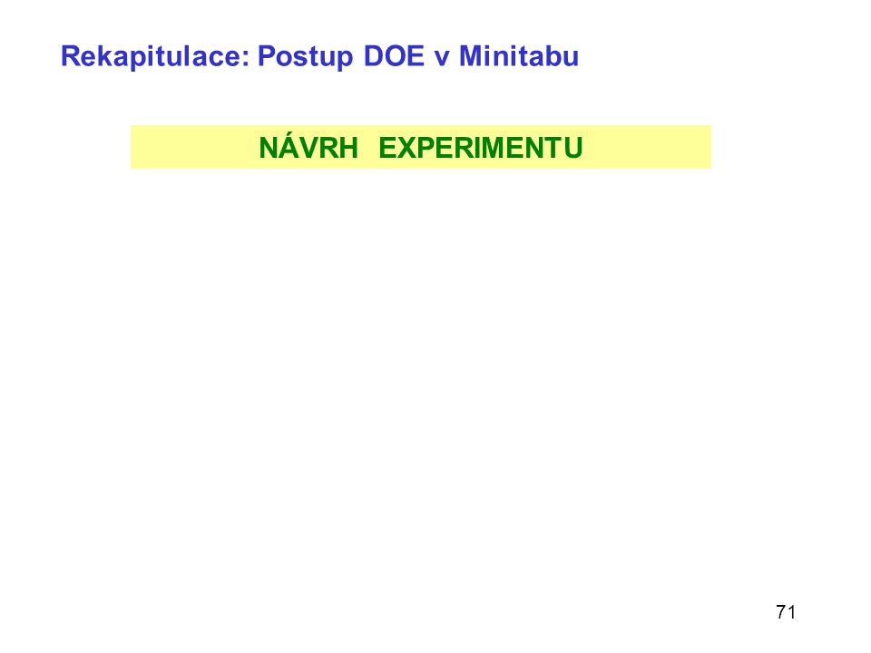 71 Rekapitulace: Postup DOE v Minitabu NÁVRH EXPERIMENTU